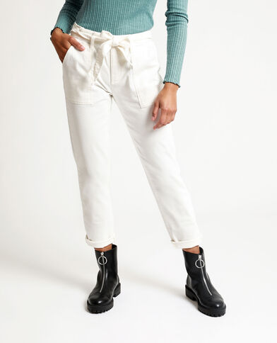 Pantalon droit high waist écru