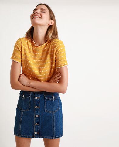 Tee-shirt maille côtelée jaune