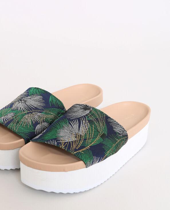 Sandalen met plateauzool groenblauw