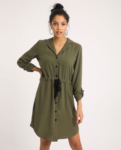 Robe ceinturée vert