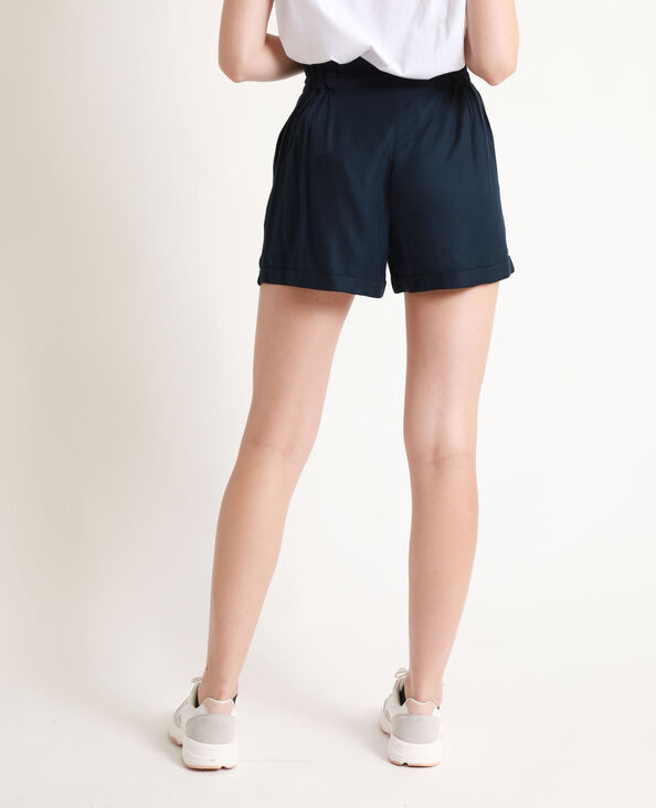 Soepelvallende short met hoge taille marineblauw
