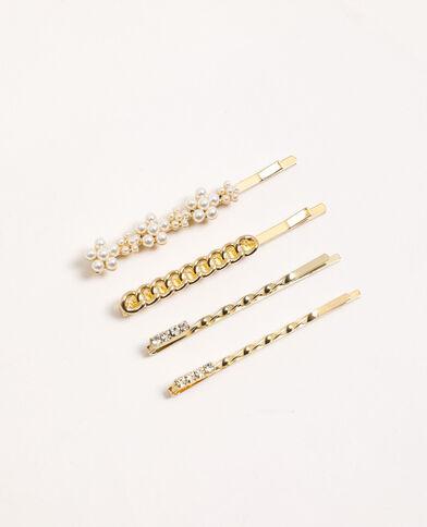 Set van 4 haarspeldjes met sieraden goudkleurig