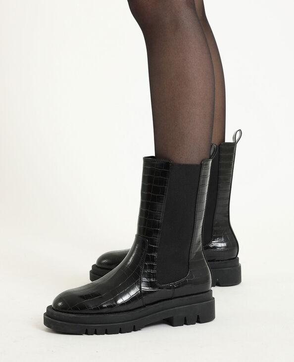 Stoere laarzen van imitatiekrokodillenleer zwart
