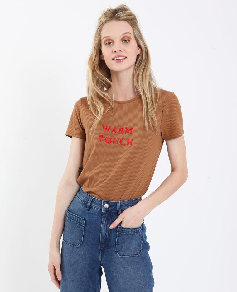 Geribd T-shirt kastanjebruin