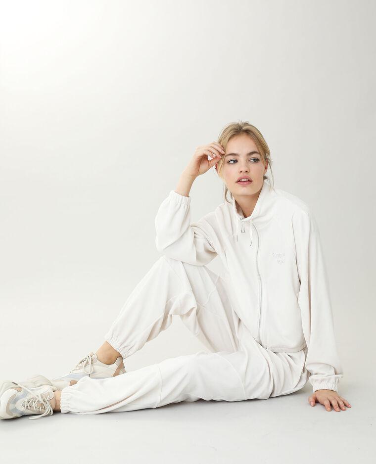 Veste en velours blanc cassé