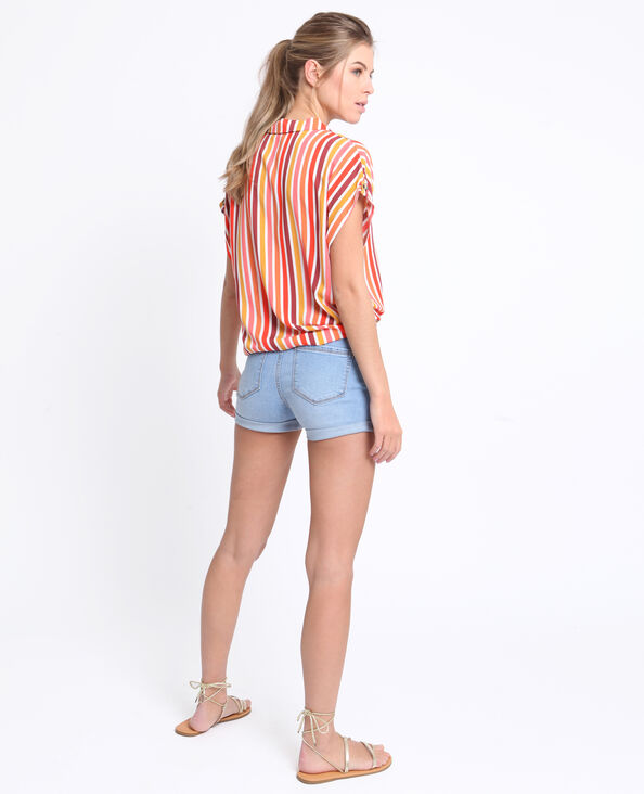 Short en jean bleu délavé