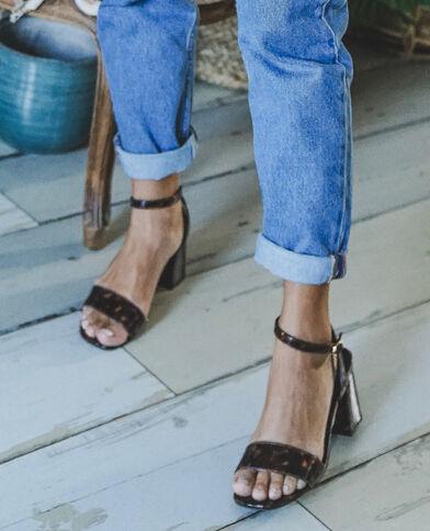 Sandalen met schildpadpatroon kastanjebruin