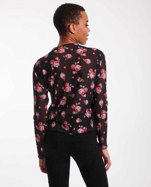 Korte top met bloemen zwart + rood