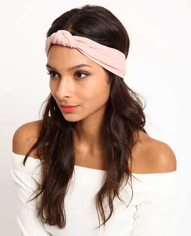Haarband met strikje poederroze
