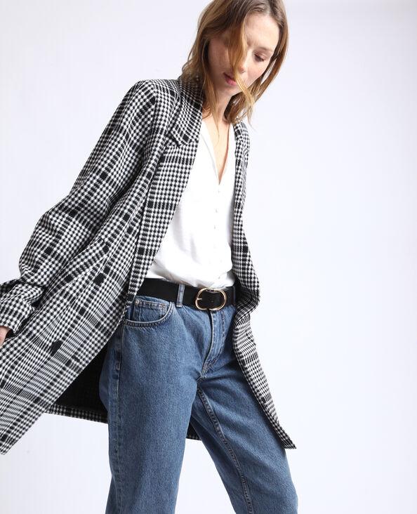 Manteau à carreaux gris