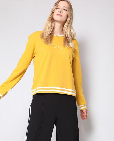 Sweater met opschrift geel