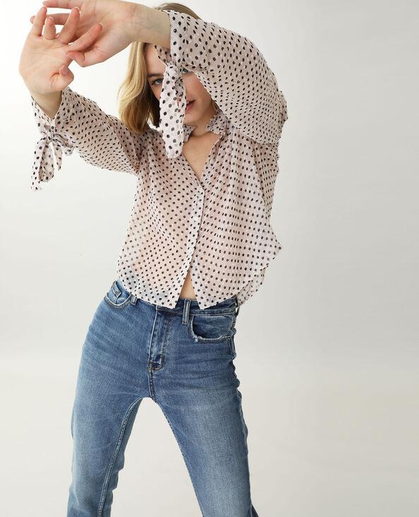 Chemise à pois blanc cassé