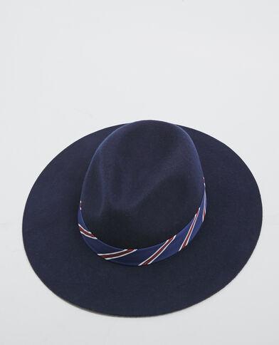 Deukhoed met strepen marineblauw