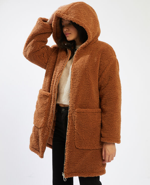 Omkeerbare mantel met capuchon kastanjebruin - Pimkie