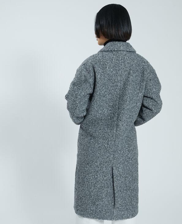 Lange jas van badstof gemêleerd grijs - Pimkie
