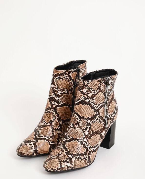 Laarzen met hak geweven beige