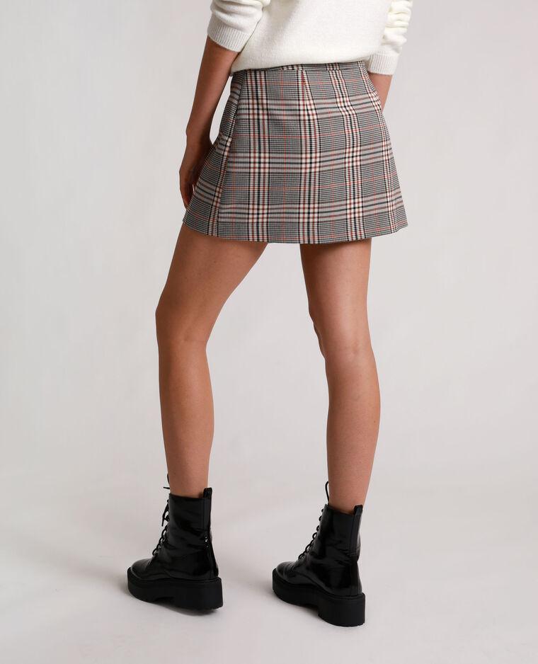 Jupe short à carreaux marron