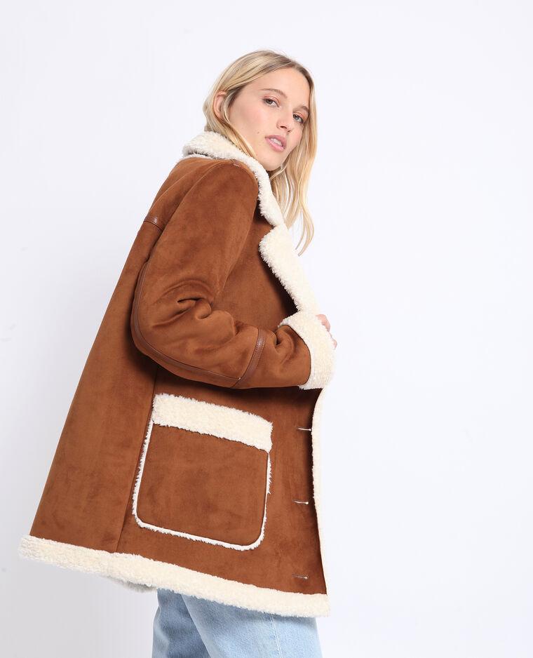Manteau imitation mouton caramel
