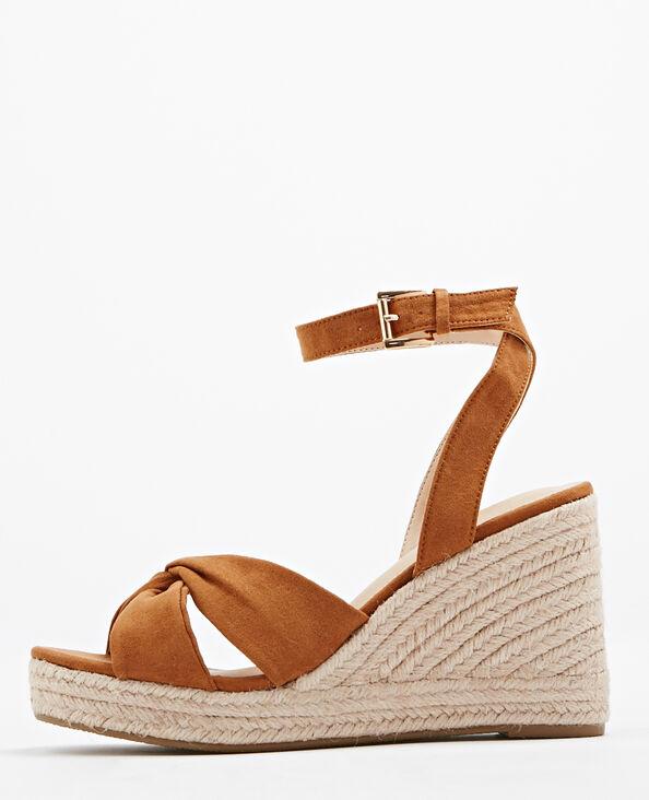 Sandalen met sleehak van stro kastanjebruin