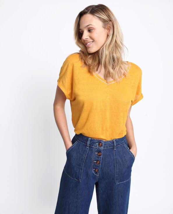 T-shirt col V jaune