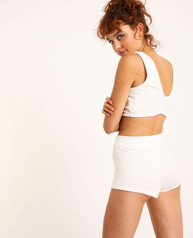 Loungewear behatop van velours gebroken wit