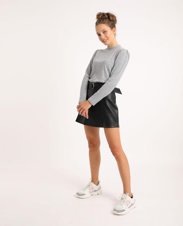 T-shirt à manches bouffantes gris chiné