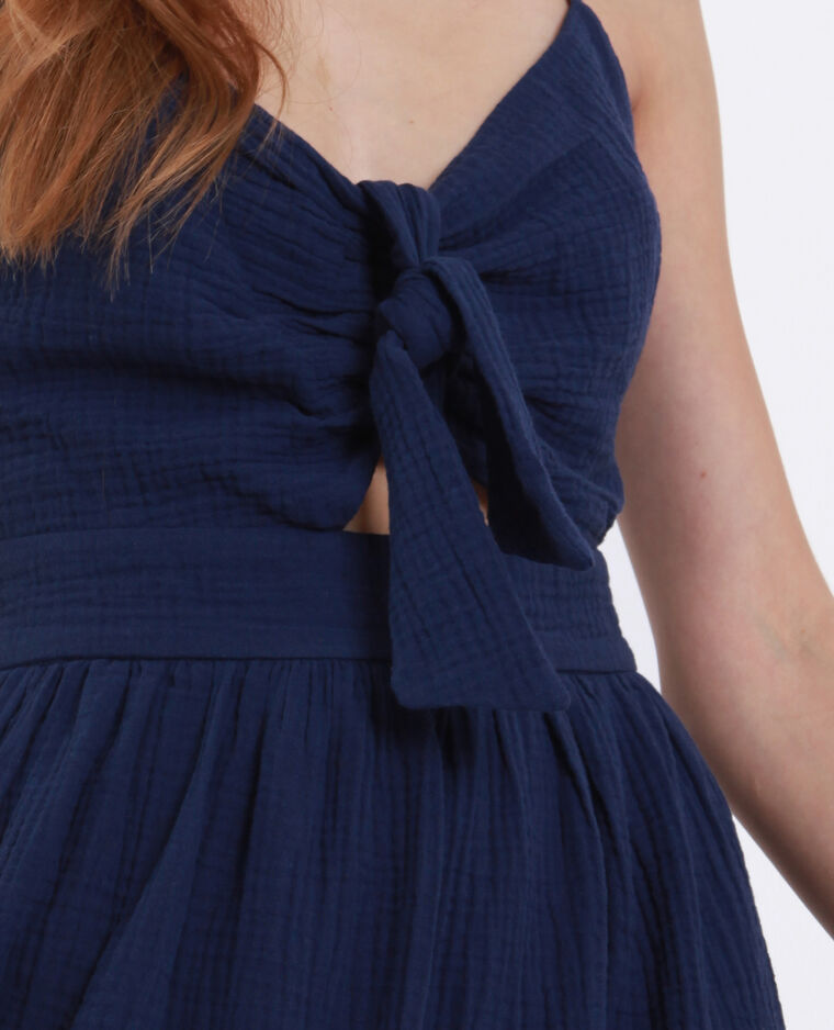 Jurk met strikje op de borst blauw