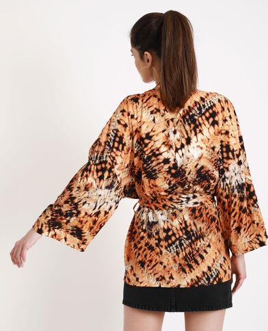 Tie-dye-kimono kastanjebruin