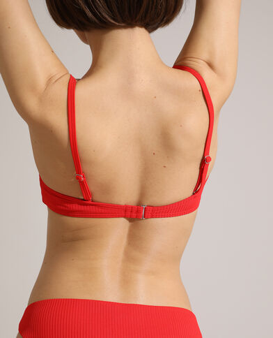 Haut de maillot corbeille push-up côtelé rouge