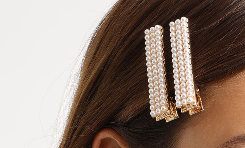 Lot de 2 barrettes à perles blanc