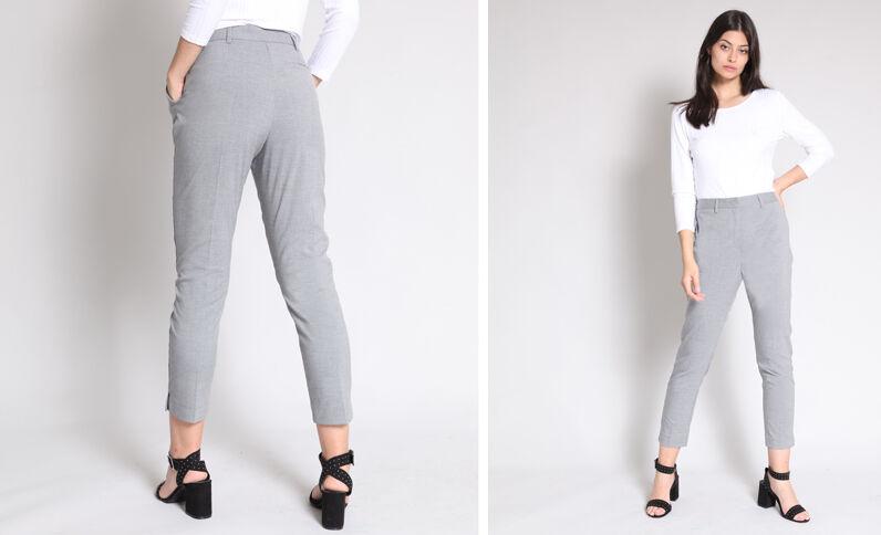 Skinny broek gemêleerd grijs