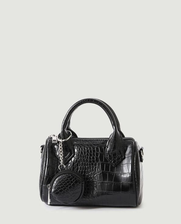 Mini-handtas met krokodillenleereffect en extra tasje zwart - Pimkie