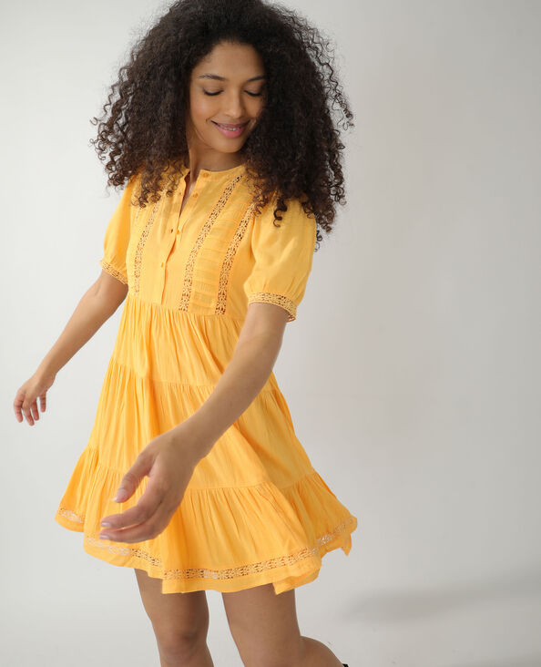 Robe avec guipure orange - Pimkie
