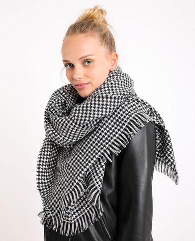 Sjaal met hanenpootmotief zwart