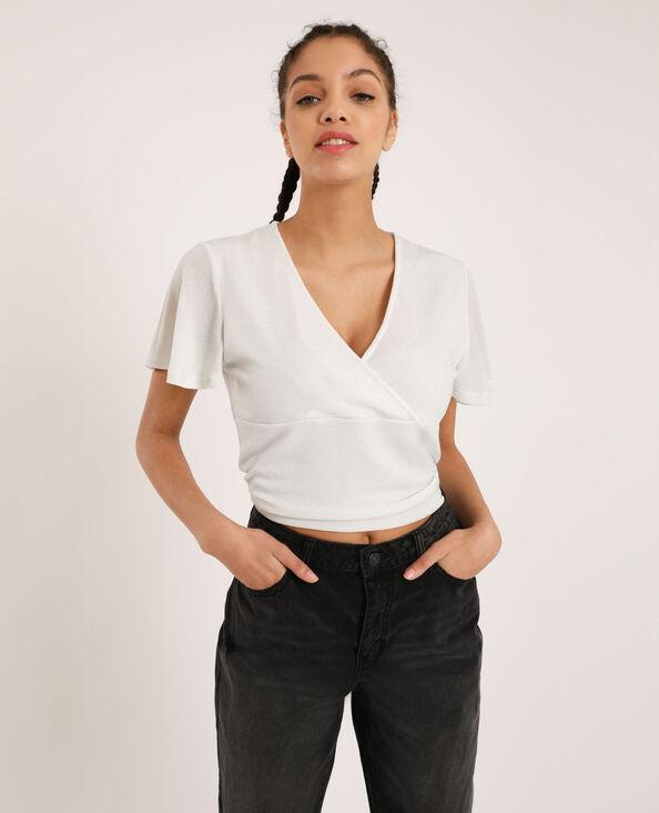 T-shirt met open rug wit