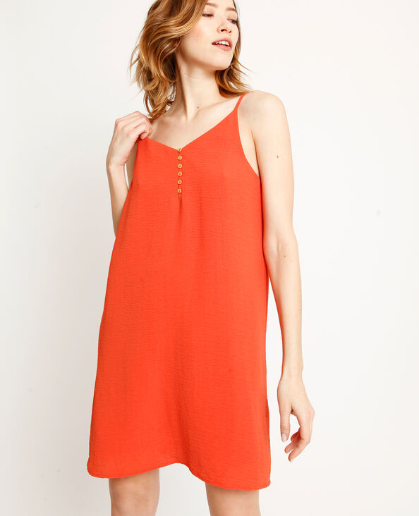 Jurk met dunne schouderbandjes oranje