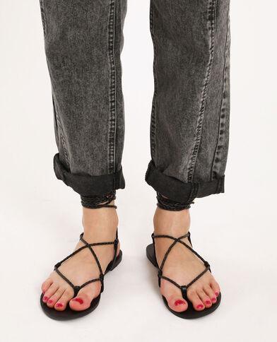 Platte gevlochten sandalen zwart