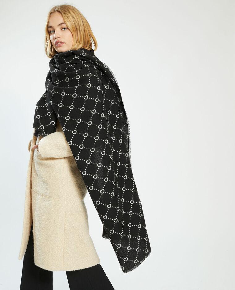 Sjaal met hartjes zwart - Pimkie
