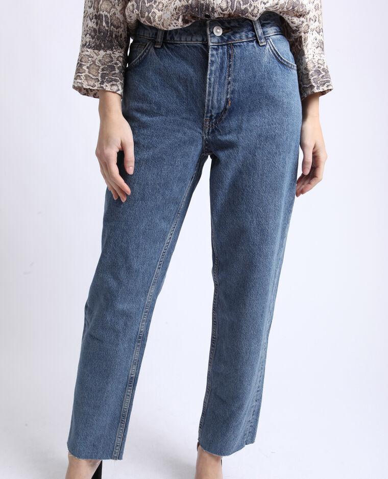 Rechte jeans met middelhoge taille denimblauw