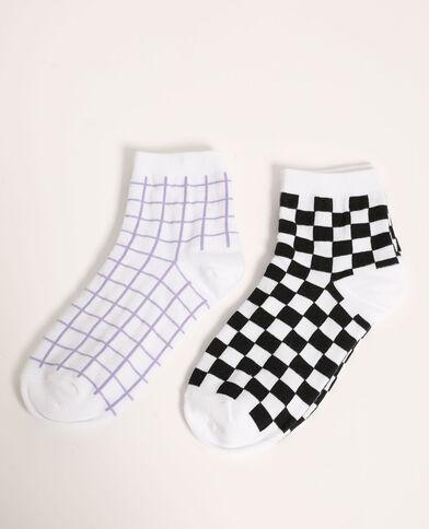 Set van 2 paar sokken met ruitjes violet - Pimkie