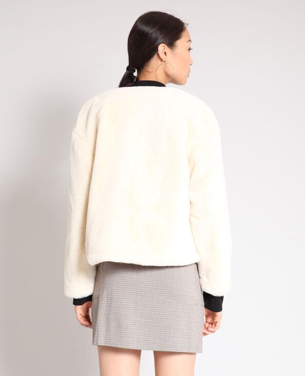 Korte jas van nepbont gebroken wit