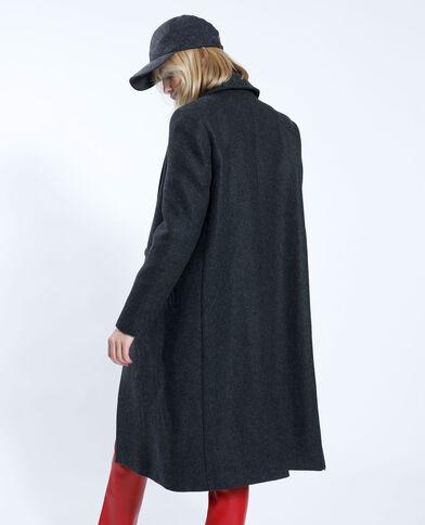 Lange mantel met wolaandeel zwart - Pimkie