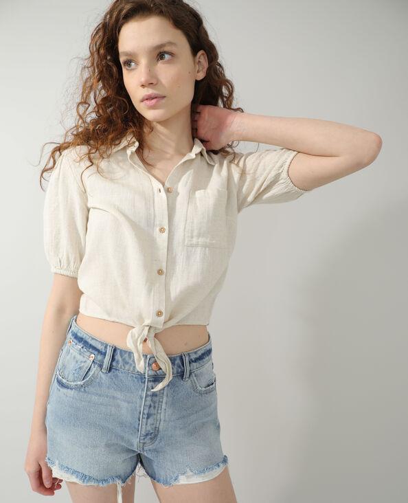 Chemise nouée beige - Pimkie