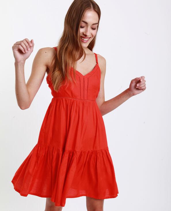 Korte opengewerkte jurk oranje