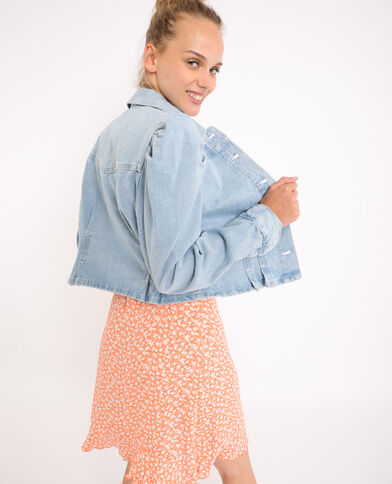 Jeansjasje met ballonmouwen verwassen blauw