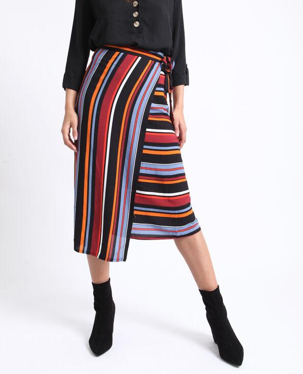 Halflange rok met strepen zwart