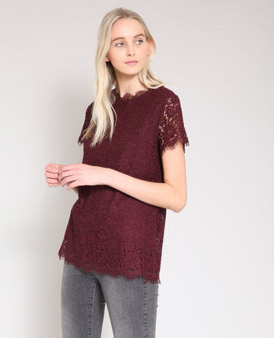 Kanten blouse bordeauxrood