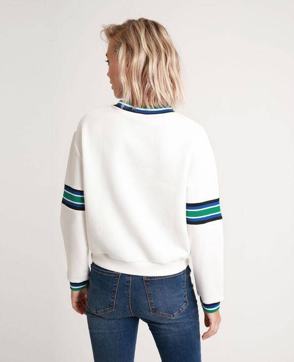 Gestreepte sweater gebroken wit