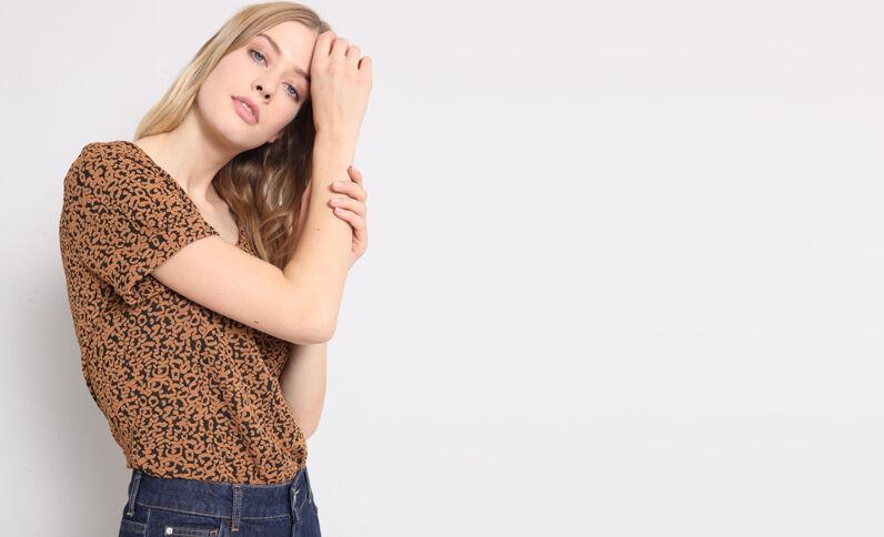 T-shirt imprimé animal marron