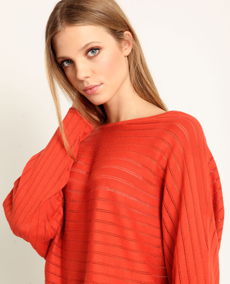 Pull fin ajouré orange